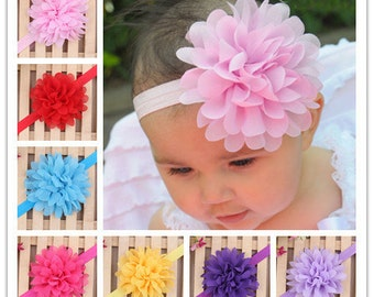 Set of 10 pcs Baby Headband, Flower Headband, Chiffon Headband, Girl Headband, infant Headband, 17 colors to choose, you pick colors