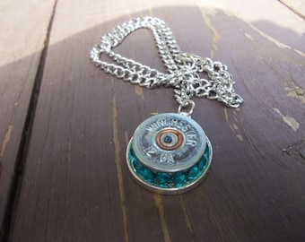 winchester 12g necklace with aquamarine Swarvoski crystals