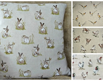 New Countryside Animals Cushion Cover - Hare, Pheasant, Horses, Chickens