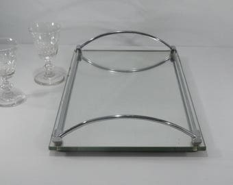 french mid-century Chrome Serving Tray, Vintage Minimalist Drinks Tray Mirror Cocktail Bar