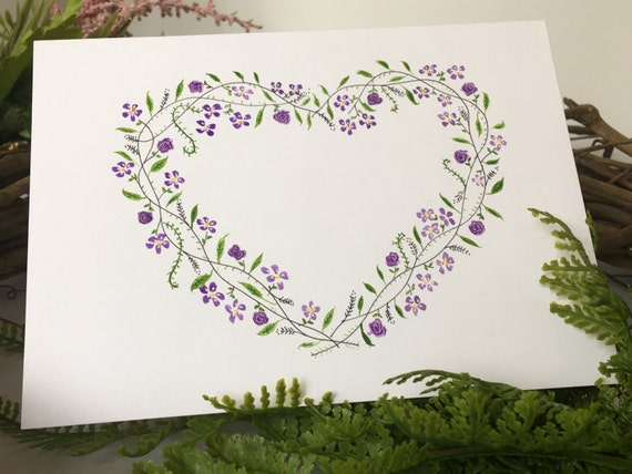Handpainted floral heart wreath greeting card, customization available
