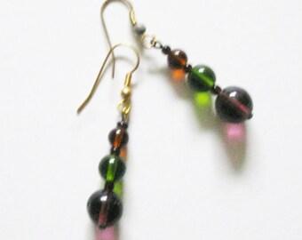 Green Purple Czech Glass Earrings Vintage Costume Jewelry Bohemian Czech Glass Earrings Beads Beaded Boho Earrings Handcrafted Jewelry