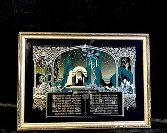 """Framed Buzza Motto Print, 1920s Buzza Motto, Art Deco Art, """"Somebody Cares"""", Edgar A Guest, Black Gold Teal Blue"""