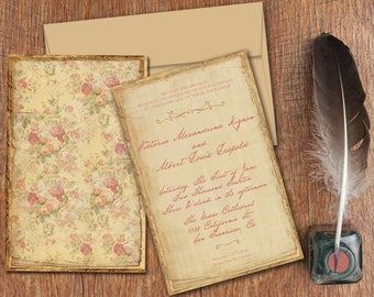 "Calligraphy Wedding Invitations SET / Victorian Antique Distressed Vintage Yellow Floral Invites / PRINTED 6x9 "" w/ Enclosure Cards"