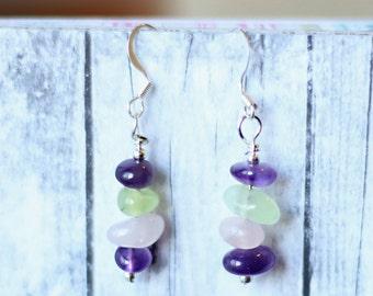 Handmade stacked beads earrings