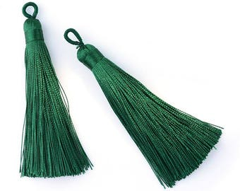 60.5mm Forest Emerald Green Mala Tassel Tassle for Long Spiritual Necklaces and Bead Jewelry
