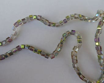 Sale - 20% 50 glass beads cubes AB green faceted clear 3mm