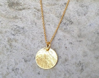 Gold Disc Necklace/ Gold Chain Necklace/ Gold Pendant Necklace/ Gold Necklace/ Circle Pendant/ Textured Necklace /  Mothers Day Gift
