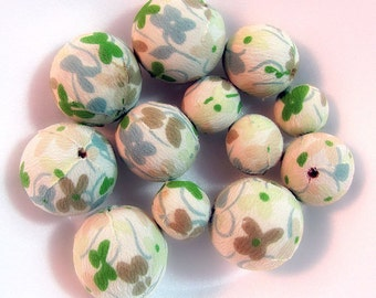 Fabric Covered Bead Lot