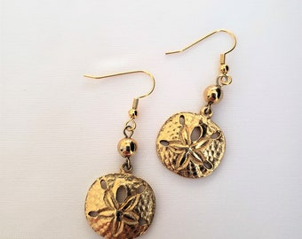 Gold Sand Dollar Earrings
