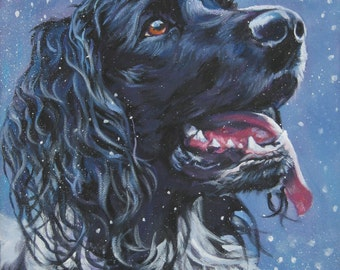 large munsterlander portrait CANVAS print of LA Shepard painting 12x16 dog art