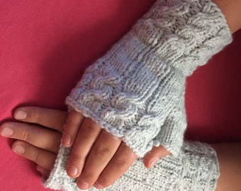 Grey-blue Knitted fingerless gloves comfortable and warm