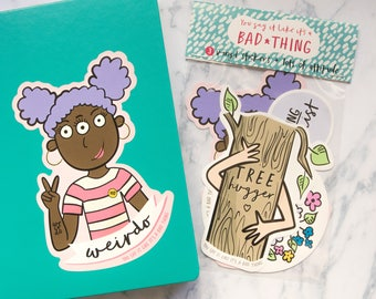 Vinyl Sticker Pack - set of 3 feminist stickers for laptop, macbook, scrapbook or notebook - featuring cute illustrations and lettering