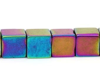 Set of 5 glass shape beads - multicolored - 8 mm square