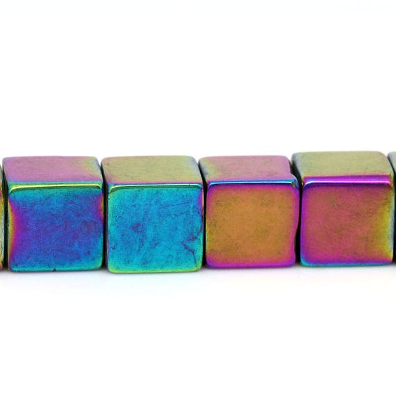 Set of 10 glass shape beads - multicolored - 8 mm square