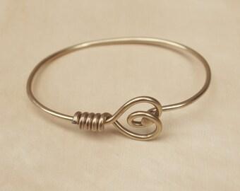 Gold Heart Bicycle Spoke Bracelet