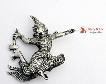 SaLe! sALe! Siamese Figural Warrior Brooch Sterling Silver