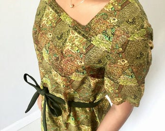 Autumn colour and pattern leaf green vintage dress