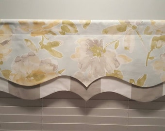 Floral with Grey and White Stripe Layered Valance - Lined Valance
