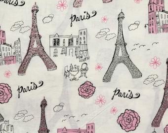 Paris Print Cotton Fabric, Heavyweight Cotton Fabric, Eiffel Tower Print Cotton Fabric, Bag Making Fabric, Crafting Fabric, Cotton Fabric.