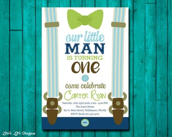 Little Man First Birthday Invitation. Little Man Party. Mustache, Suspenders & Bow Tie Party. Boys Birthday Invite. Mustache Bash. Boys 1st.
