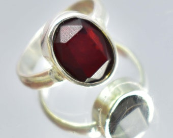 26.30Ct Certified US Size-7 Gorgeous Red Garnet Ring Gems 925 Sterling Silver AQ67