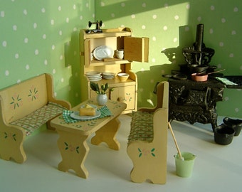 """COTTAGE KITCHEN with iron stove and handpainted furniture for mini American Girl,Amanda Jane,Madame Alexaner,Riley Kish and all 7""""-8"""" dolls"""