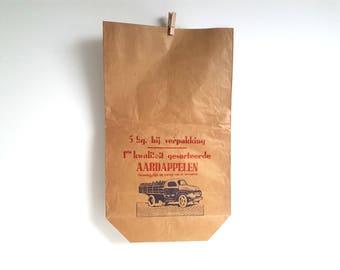 Old paper potato grocery bag * old paper potato sack * old paper bag * vintage paper potato sack