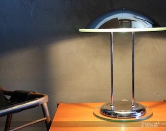 Vintage design desk table lamp chrome glass 70s 80s Art Deco mid century
