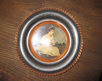 """Wall Hanging Copper Dish Age Of Innocence Print Made In Belgium 9"""" Across Round Image Is 5"""" Across 1 1/2"""" High  Pie Crust Outer Border"""