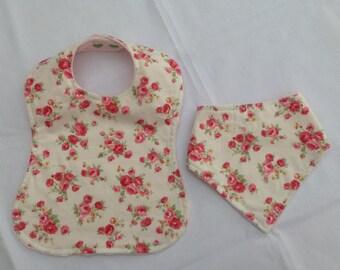 Baby bib set, dribble bib, feeding bib, bandana bib, gift, floral, baby gift, clothing, accessories, baby shower, baby girl, floral, pink,
