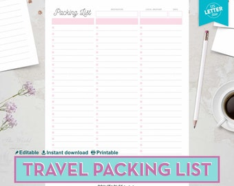 printable packing list travel packing list vacation packing list trip packing checklist printable trip packing list editable list
