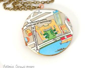 MIT Boston Map Necklace, Vintage Locket, Brass Chain, Large Locket, College, University - Ready to Ship