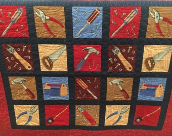 Baby Quilt Boy Toddler Quilt Quilted Blanket Crib Quilt for Boy Handy Tools Handyman Quiltsy Handmade Ready to Ship