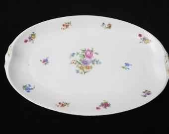Weimar Germany Floral Platter Gold Accents Vintage Serving Plate