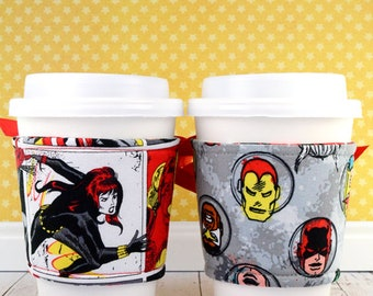 Superheroes Cup Cozy // Marvel Superheroes Comics -- Red Cup Cozy // reversible // adjustable // corset cup cozy // drink sleeves // gifts