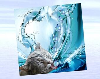 Cat, cat greeting card, cat art: thirst!