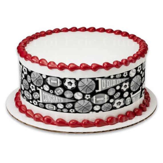 Sports Grad Graduation - Designer Strips - Edible Cake Side Toppers- Decorate The Sides of Your Cake! - D22039