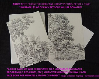 1 SET - Artist - Note Cards for Hurricane Harvey victims! Printed from original Pen & Ink Drawings by Michael J. Brown -  Set of 2