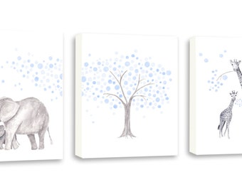 Art For Kids, Baby Wall Art, Nursery Wall Art, Elephant Wall Art, Giraffe Art, Set Of Three Gallery Wrapped Canvases - SO83WC