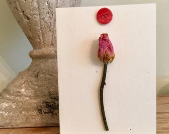 Dried rose bud and button card