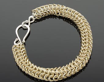 Handmade Two-Tone Roundmaille Chainmaille Bracelet