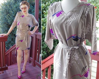 New WAVE 1980's Vintage Light Gray Blue + Purple Abstract Confetti Cocoon Dress w/ Belt // by SECRETS // size Small