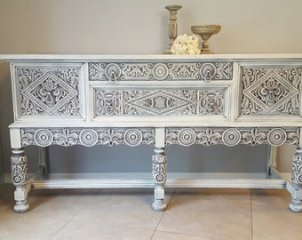 SOLD *** Rare Ornate Antique Buffet, Shabby Chic Server, Sideboard, Hand Painted and Distressed in Layers of White Over Gray