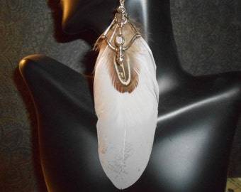 FEATHER EARRINGS - White and a Touch of Brown Feather Earrings - Pierced