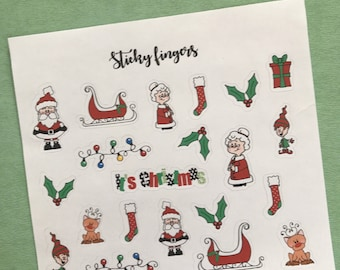 Christmas Stickers , Planner Stickers, Erin Condren, Santa Stickers, Stickers, Bullet journal stickers, Cute Stickers,Bujo Stickers
