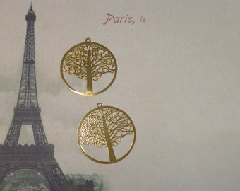Laser Lace Filigree Finding Tree of Life 45mm, Bright Gold  (2)