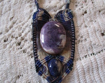 Vintage Blue/Purple Stone (Lapis?) and Woven Necklace - Free Shipping