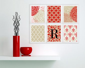 Red  white taupe Vintage / Modern inspired Art Prints Collection -Set of (6) - Wall Art Prints - monogram -initial customized
