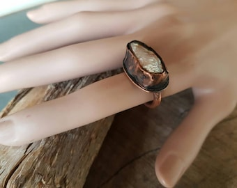 Sold / Pearl Copper Ring/Handmade/Metal Smith/Rustic/Unique/Eco-Friendly/Primitive/Organic Jewelry